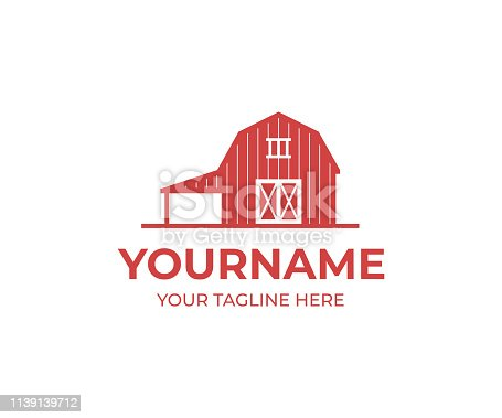 Red barn design. Farm vector design. Building illustration