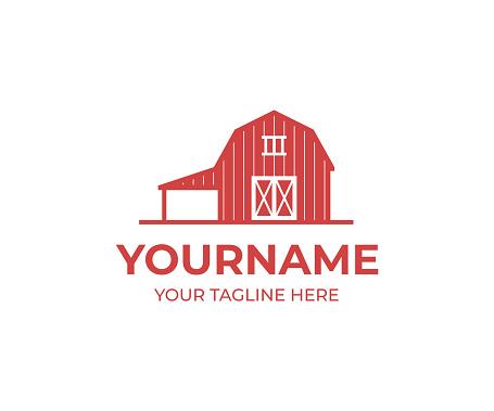 Red barn design. Farm vector design. Building illustration