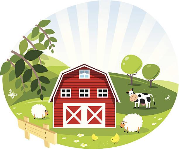 Red Barn- Green Farm- Illustrationen – Vektorgrafik