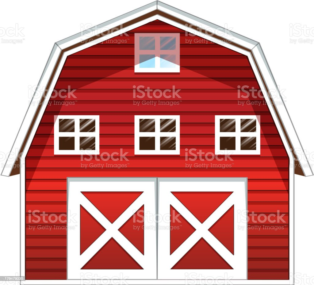 Red barn house vector art illustration