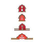 Illustration of red barn logo design template