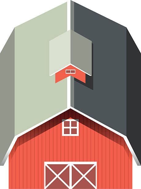 Red Barn With Gray Roof Vector Art Illustration