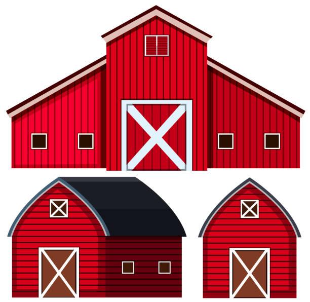 Red Barns In Three Designs Vector Art Illustration