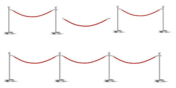 Red barrier made of rope. Fence for VIP visitors. Fencing for the line. Security line at the entrance. Vector image. Stock Photo.
