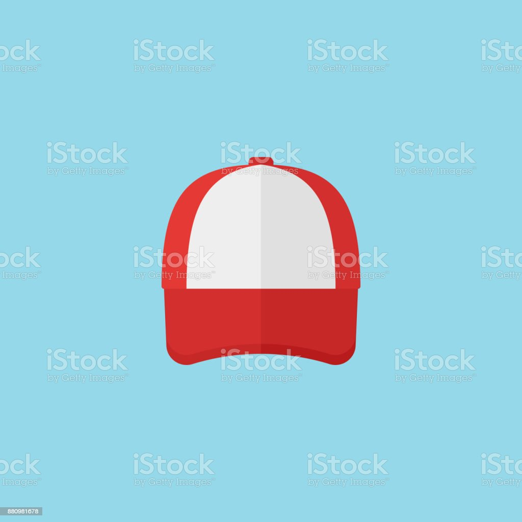 Red baseball cap flat style icon. Vector illustration. vector art illustration