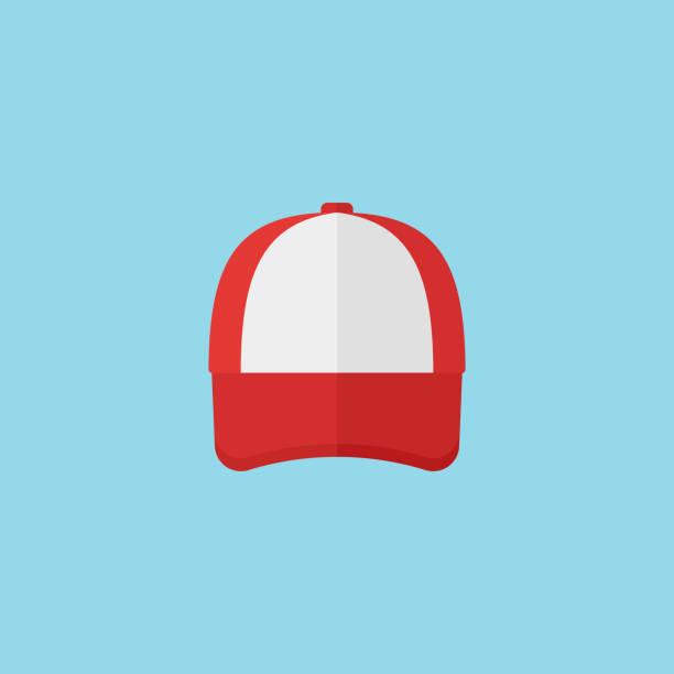 Red baseball cap flat style icon. Vector illustration. vector art illustration