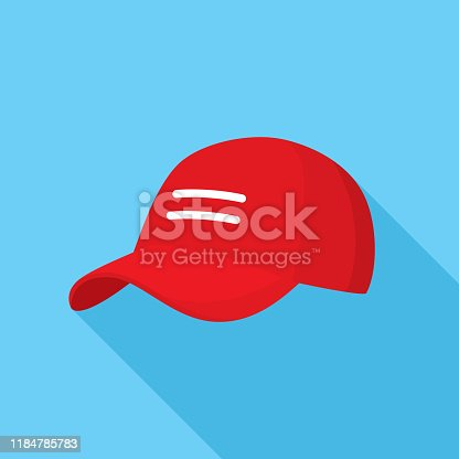 Vector illustration of a red baseball cap against a blue background in flat style.