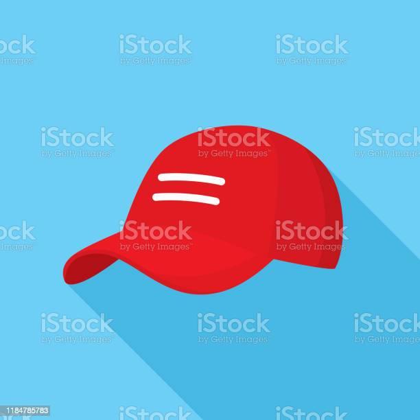 Rode Baseballcap Pictogram Plat Stockvectorkunst en meer beelden van Amerikaanse cultuur