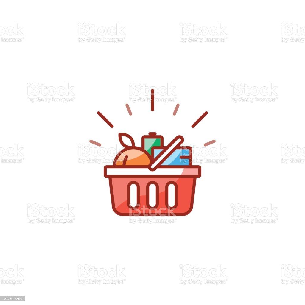 Cesta vermelha com produtos de mercearia, negócio de promoção, compras o ícone da linha de alimentos - Vetor de Alimentação Saudável royalty-free