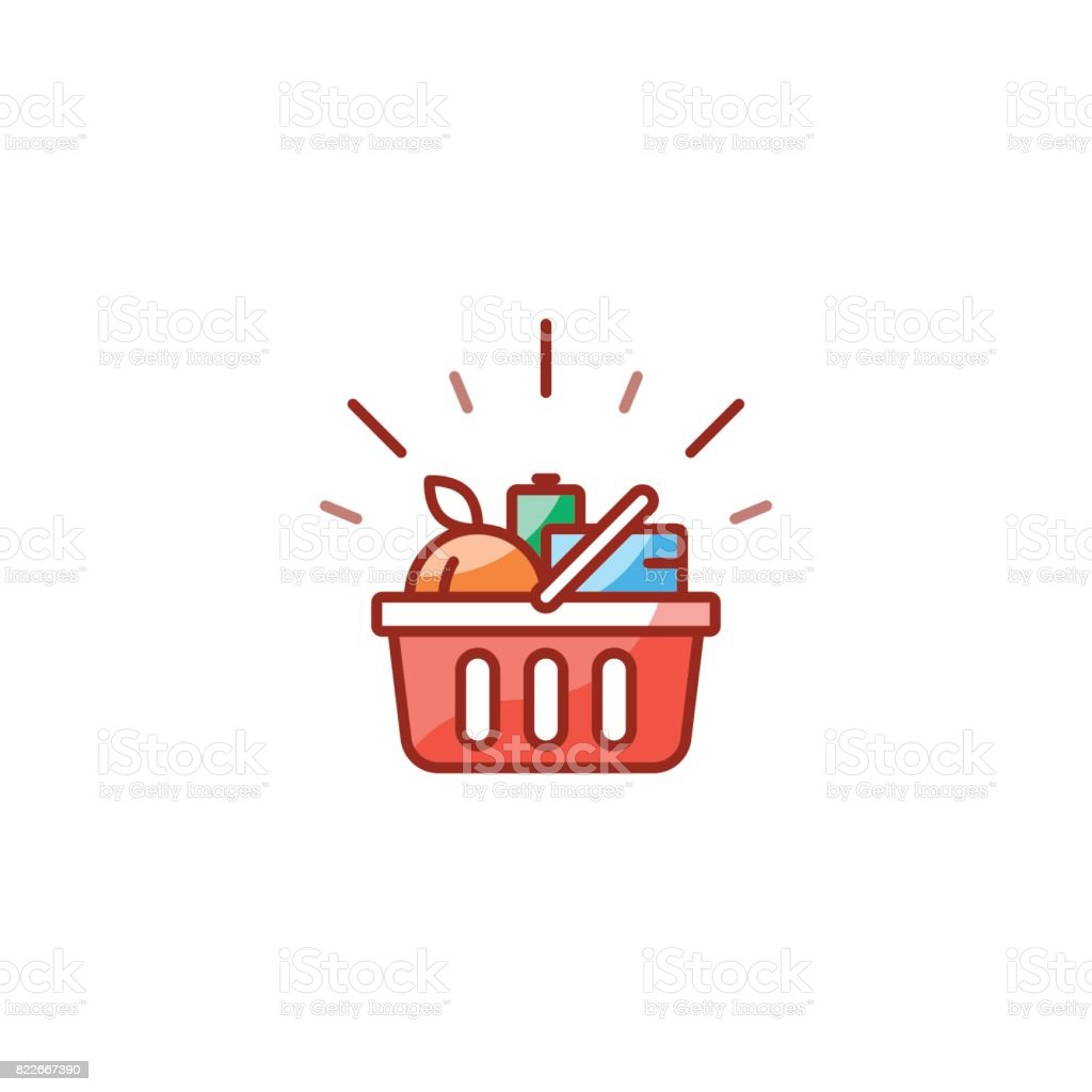 Red basket with grocery products, promotion deal, shopping food line icon vector art illustration