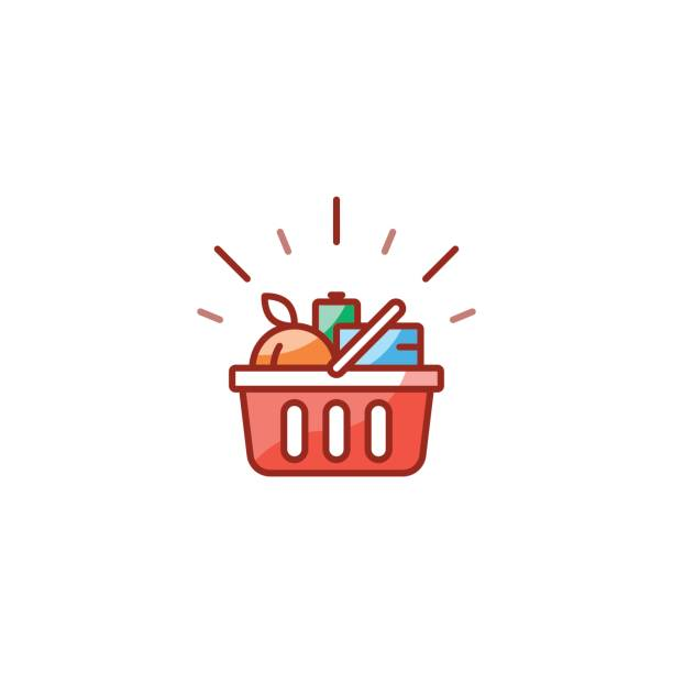Red basket with grocery products, promotion deal, shopping food line icon Grocery shop basket full of food, shopping special offer promotion, best deal, good quality products, vector line icon design grocery store stock illustrations