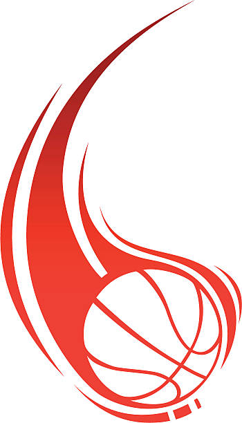 stockillustraties, clipart, cartoons en iconen met red basketball with trailing flame drawing - basketbal bal
