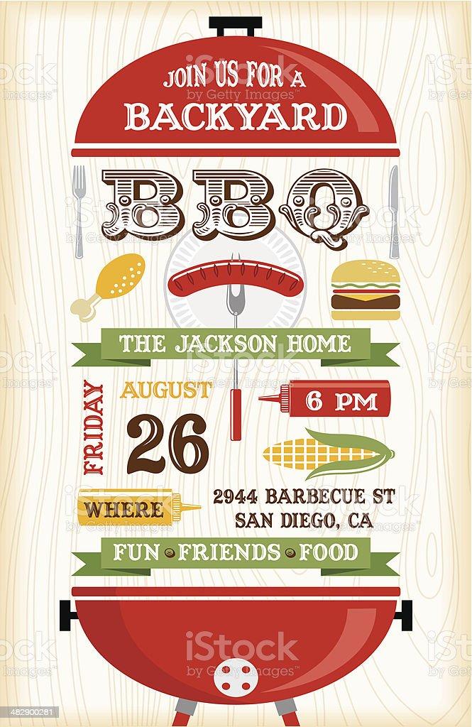 Red BBQ Grill Invitation vector art illustration
