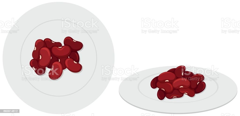 Red beans on the plates vector art illustration
