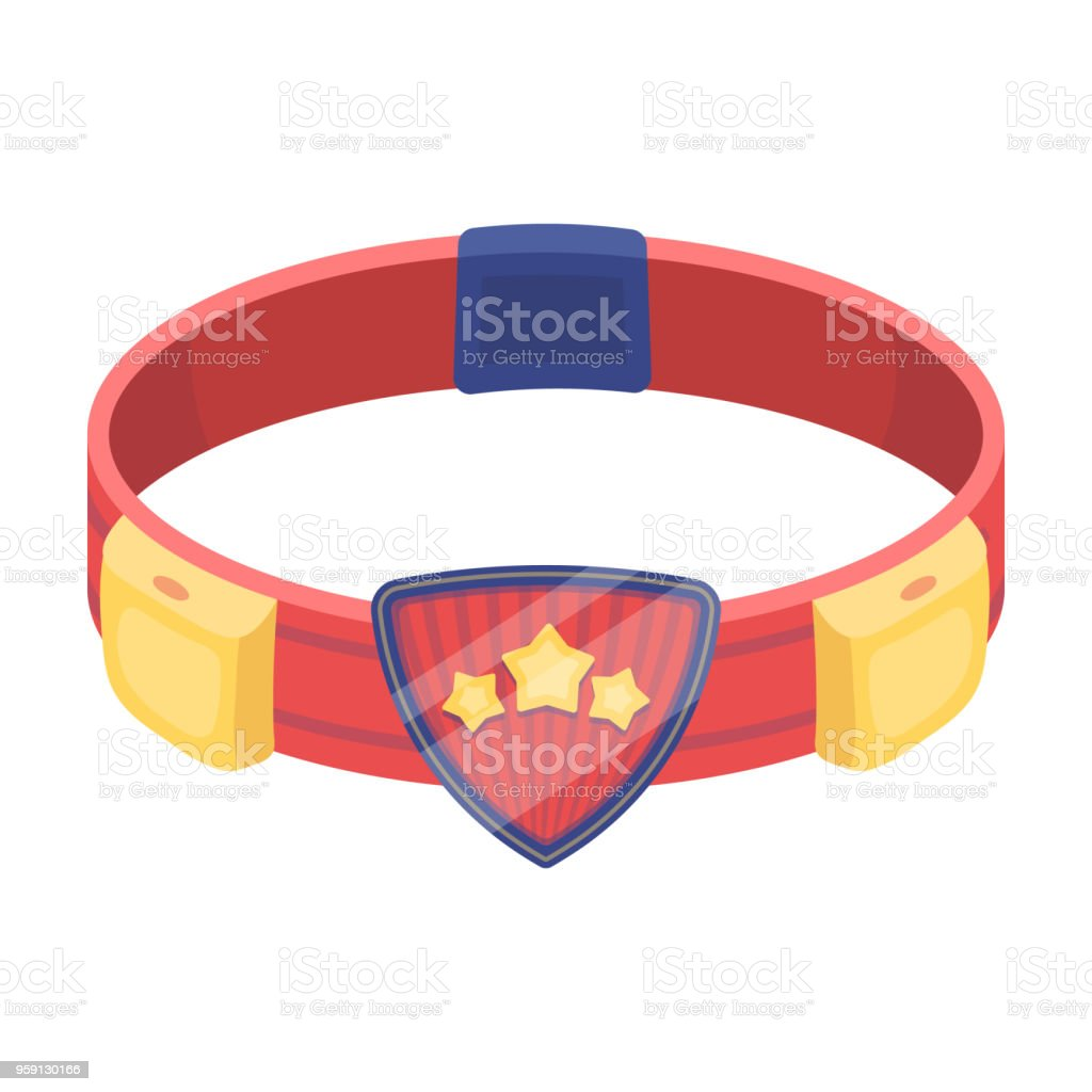 Red belt superhero with an emblem and gear. Part superhero outfit.Superhero single icon in cartoon style vector symbol stock illustration. vector art illustration