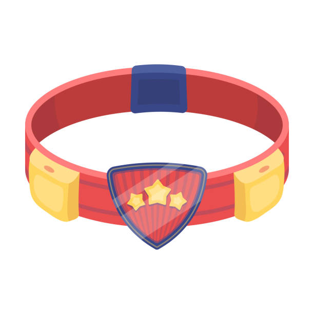 Red belt superhero with an emblem and gear. Part superhero outfit.Superhero single icon in cartoon style vector symbol stock illustration. - illustrazione arte vettoriale