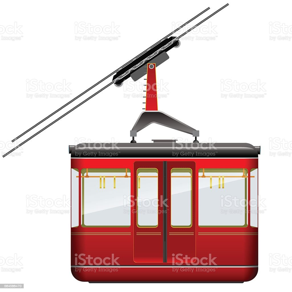 Red big and old cabin cableway on a white background vector art illustration