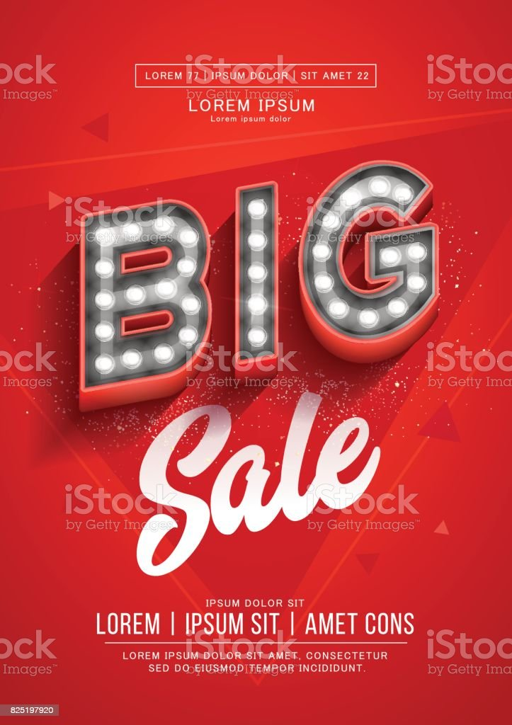 Red big sale poster or flyer design. Retro light signboard banner with glowing bulbs