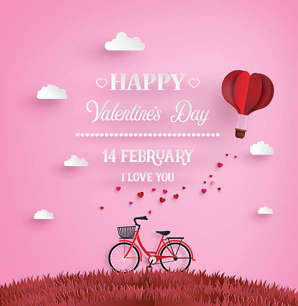 Red bikes parked on the grass with heart shaped balloons vector art illustration