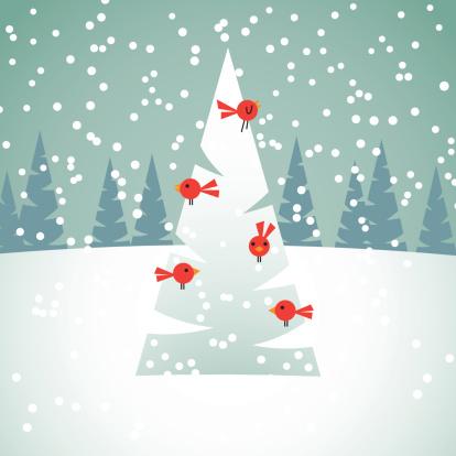 Red Birds on Christmas Tree