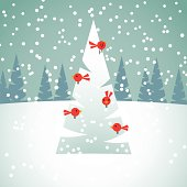 Christmas background with spruces, snow and red birds.