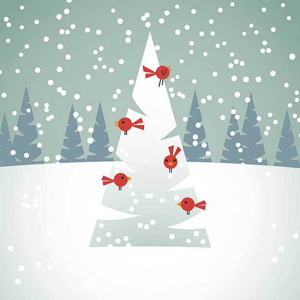 Red Birds on Christmas Tree Christmas background with spruces, snow and red birds. image stock illustrations