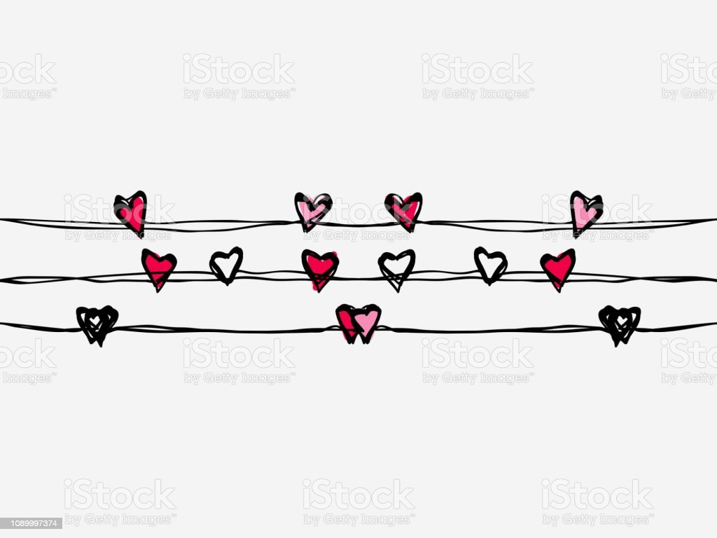 Red Black And Pink Childish Hand Dawn Hearts Continuous Lines Art