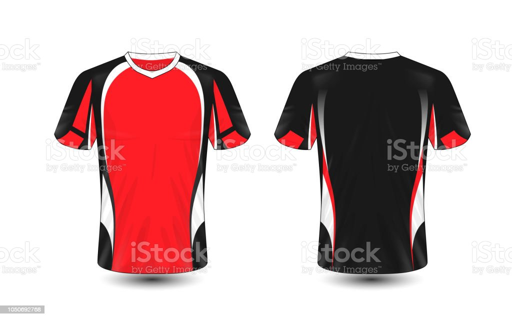 2894e3045d8f Red black and white layout e-sport t-shirt design template royalty-free