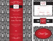 Red Black Damask Wedding Invitation set of four elements.  The set includes wedding invitation, thank you card, wine bottle neck label and r.s.v.p return note.  This is an elegant set done with black and white damask pattern with red highlights.
