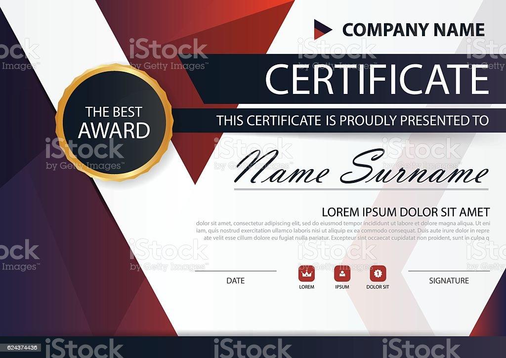 Ilustración de Red Black Elegance Horizontal Certificate With Vector ...