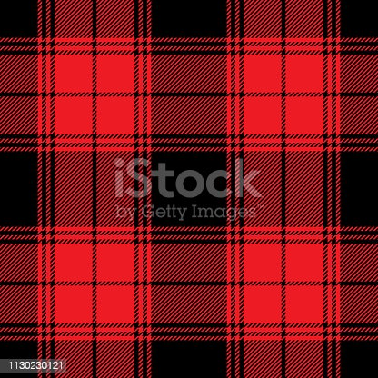 Red & black plaid pattern. Seamless tile for fabric design. Check plaid with large squares. Striped texture. Vector illustration.