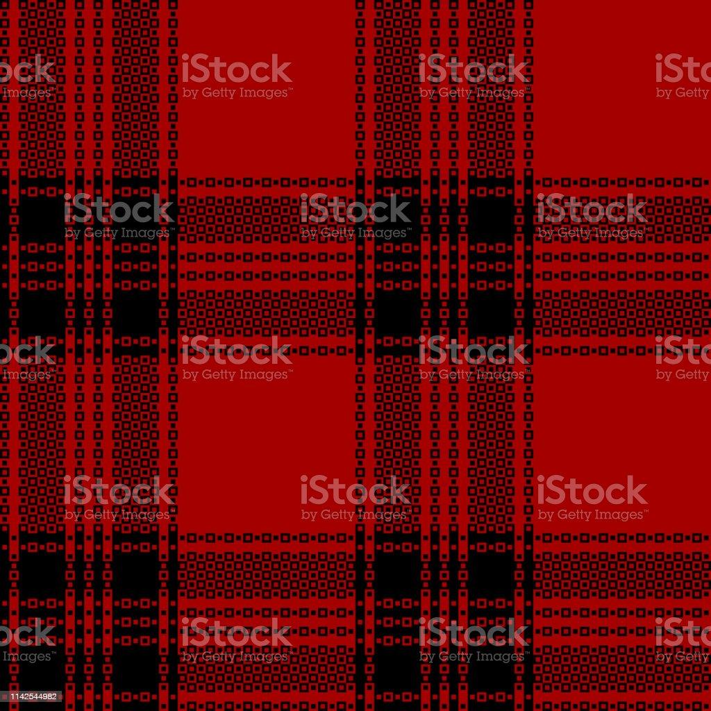 Red black plaid pattern vector. Seamless tartan check plaid for...