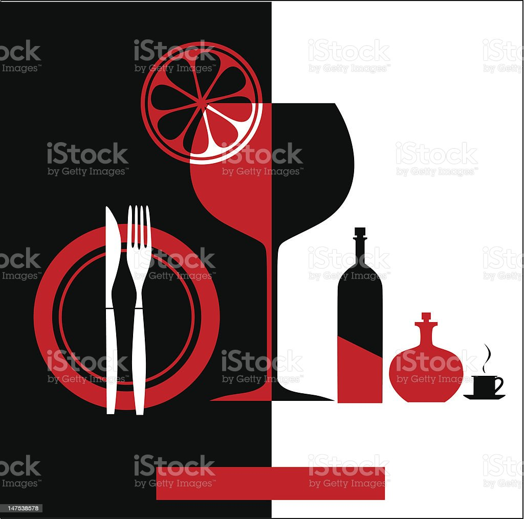 Red & black Restaurant menu royalty-free stock vector art