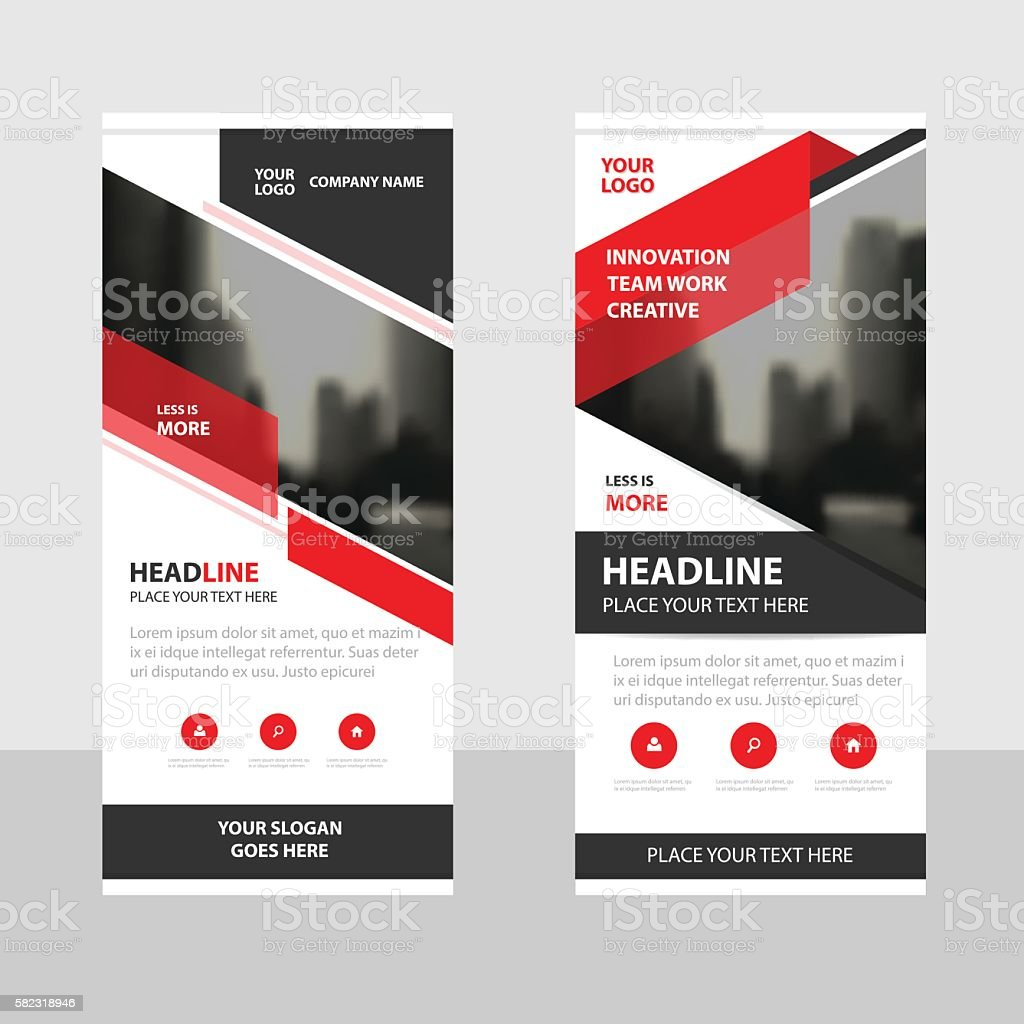 Red black triangle Business Roll Up Banner flat design template vector art illustration