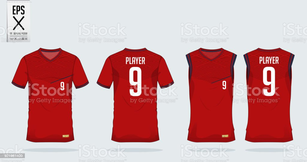 Red- black t-shirt sport design template for soccer jersey, football kit and tank top for basketball jersey. Sport uniform in front and back view. Tshirt mock up for sport club. Vector. vector art illustration