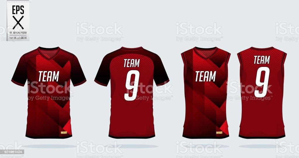 Red Black Tshirt Sport Design Template For Soccer Jersey Football ...