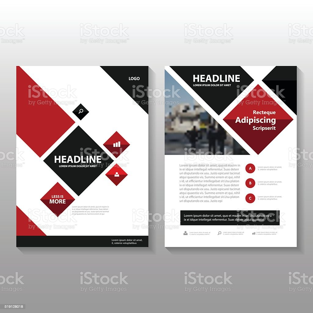 Red Black Vector Annual Report Leaflet Brochure Flyer Template - Brochure flyer templates