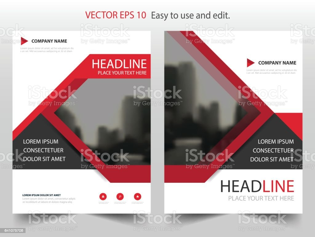 red black vector brochure annual report leaflet flyer template