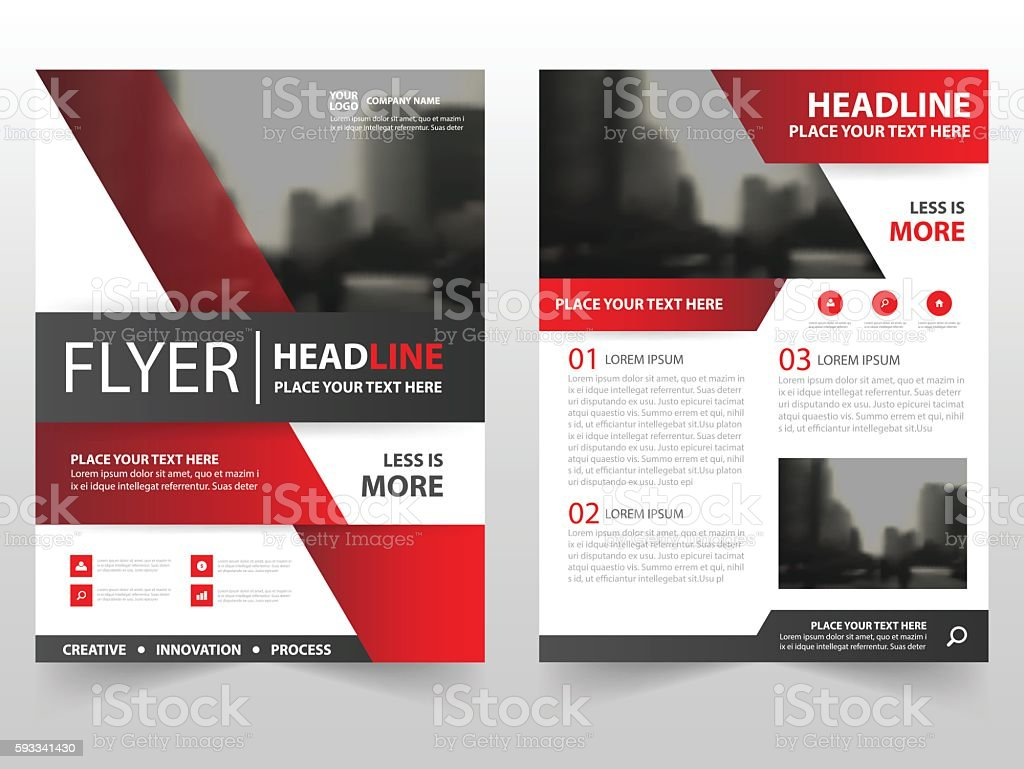 Brochure Booklet Flyer Or Book Cover Template Vector : Red black vector brochure leaflet flyer template design