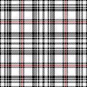 Red, black and white traditional tartan plaid seamless pattern background.