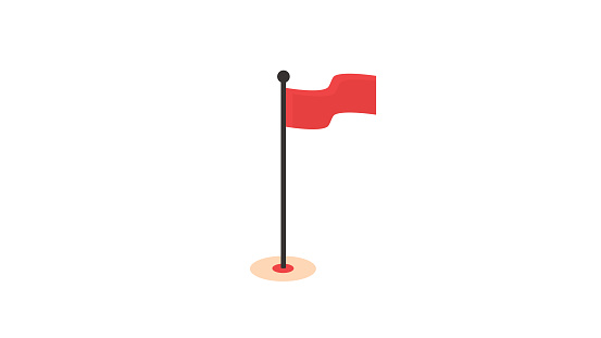 Icono de bandera en blanco rojo