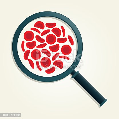 Red blood cells with magnifying glass - vector illustration