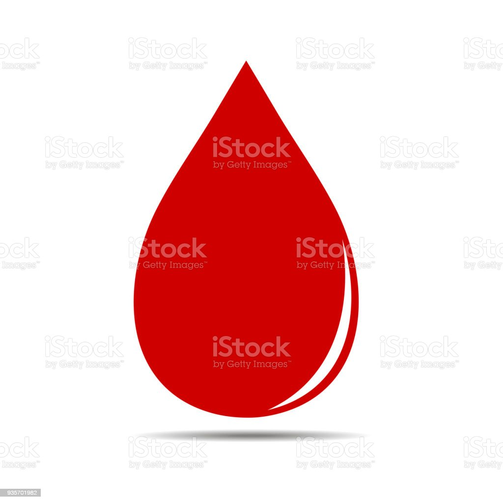 Red blood drop icon vector art illustration