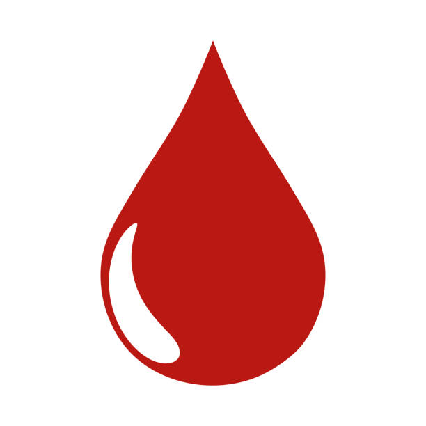 red blood drop icon - teardrop stock illustrations, clip art, cartoons, & icons