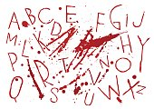 Red bloody capital handwritten vector thin brush alphabet on white background with blots and drops.