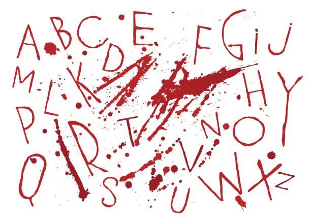 illustrazioni stock, clip art, cartoni animati e icone di tendenza di red bloody capital handwritten vector thin brush alphabet on white background with blots and drops. - thriller