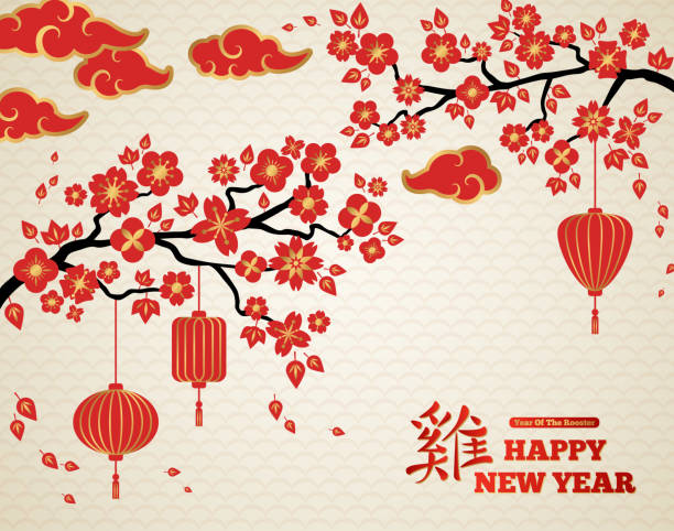 red blooming sakura branches on bright backdrop - new year stock illustrations