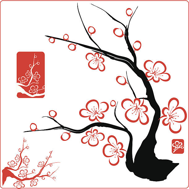 Red blossom designs on a black tree file_thumbview_approve.php?size=1&id=23322606 plum blossom stock illustrations
