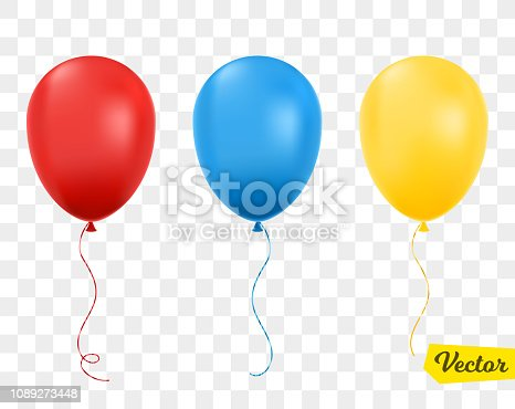 Red, blue and yellow balloons isolated. Vector illustration.