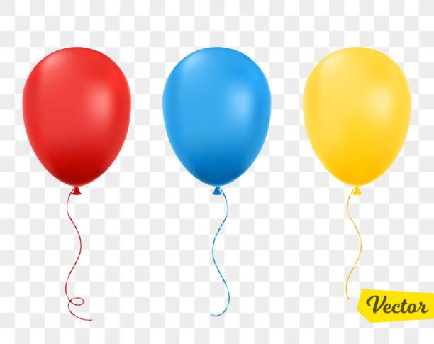 rote, blaue und gelbe luftballons isoliert. - ballon stock-grafiken, -clipart, -cartoons und -symbole